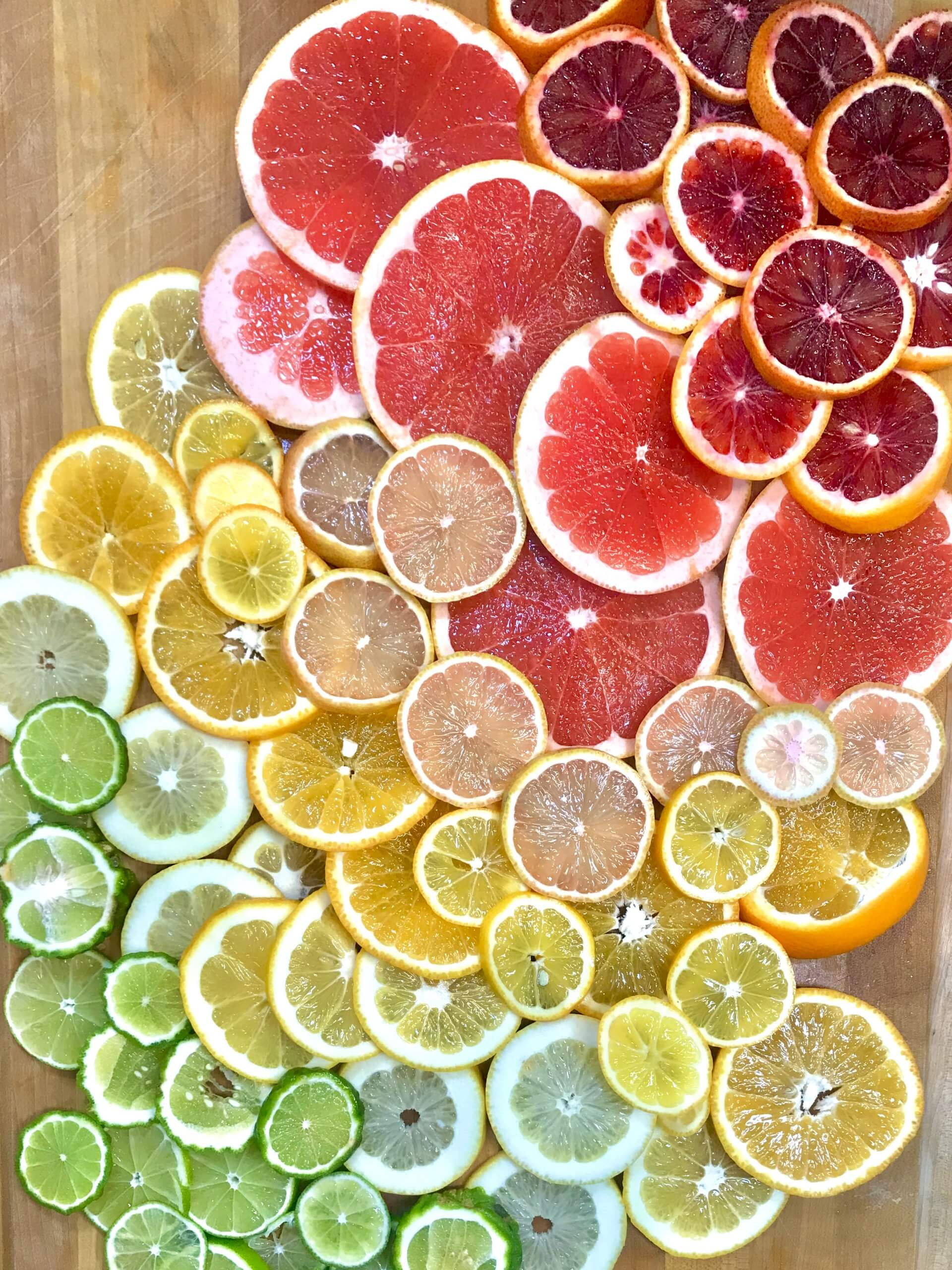 Slices of colorful citrus fruit