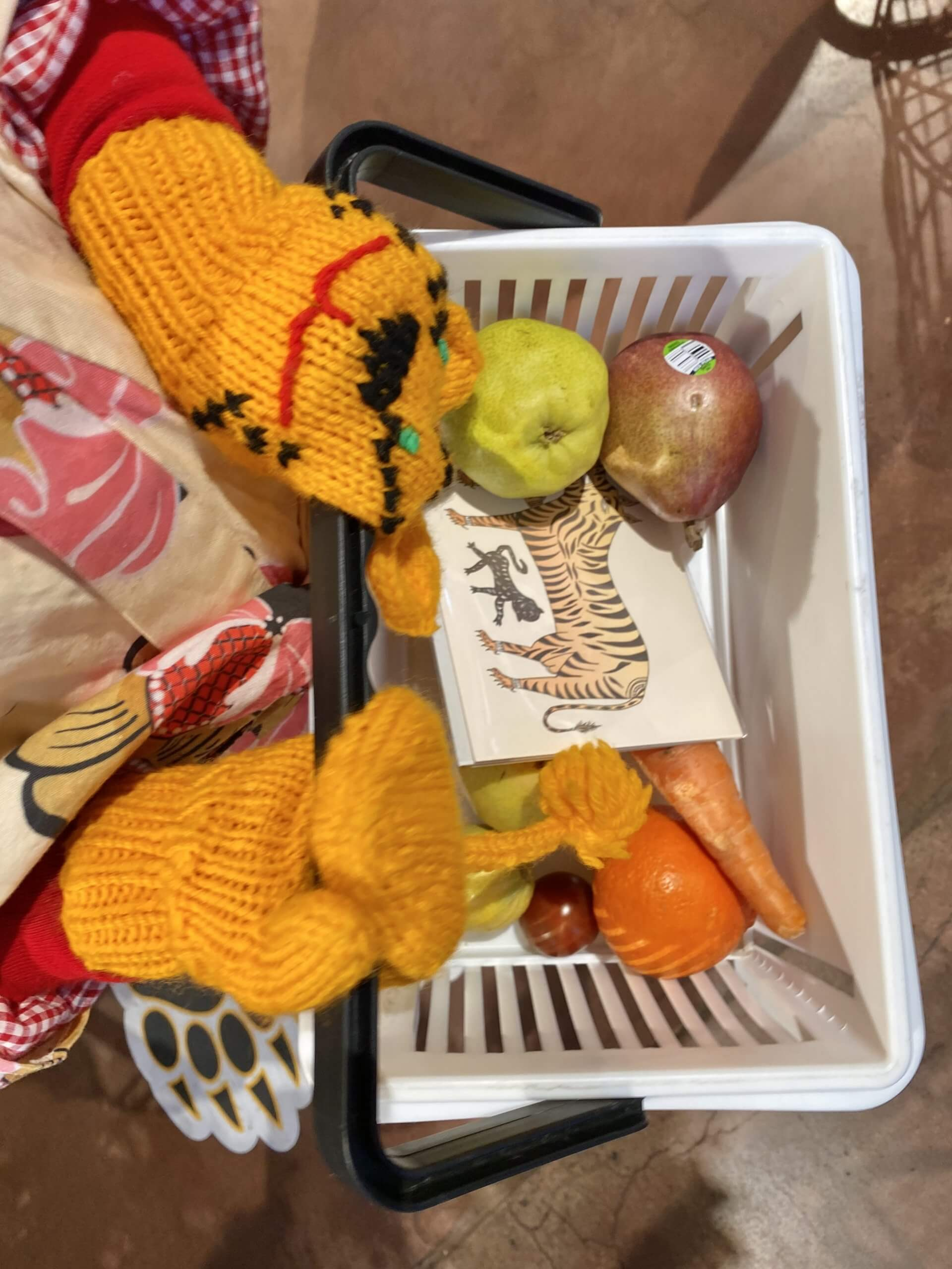 shopper wearing mittens and holding grocery basket