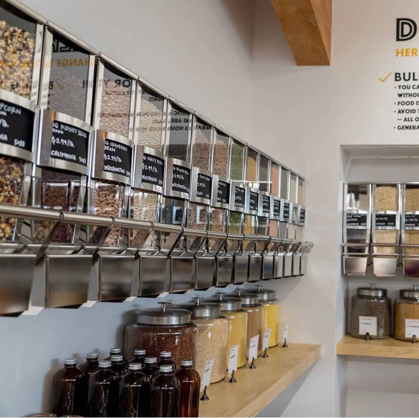 Bulk bins and containers on shelves