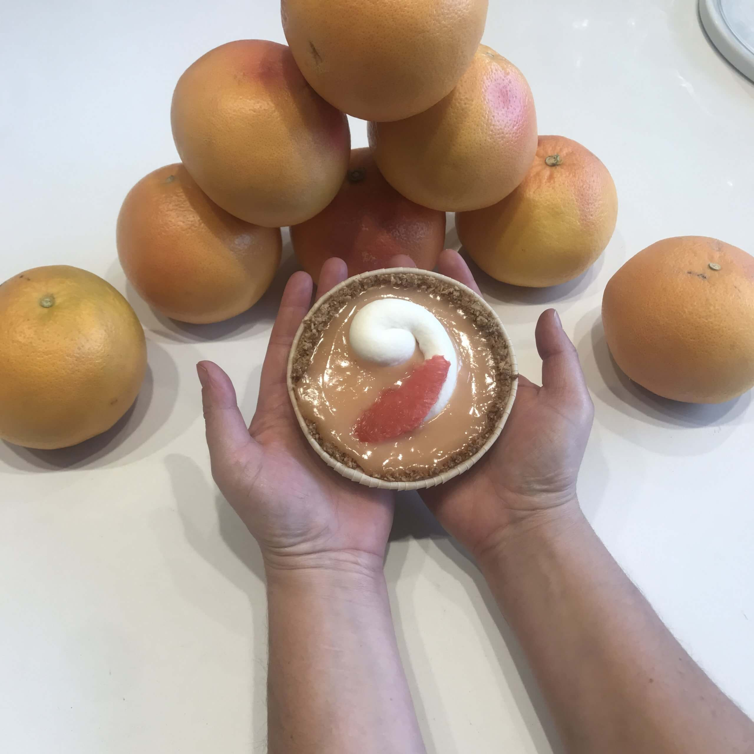 hands holding prepared food item with citrus fruits