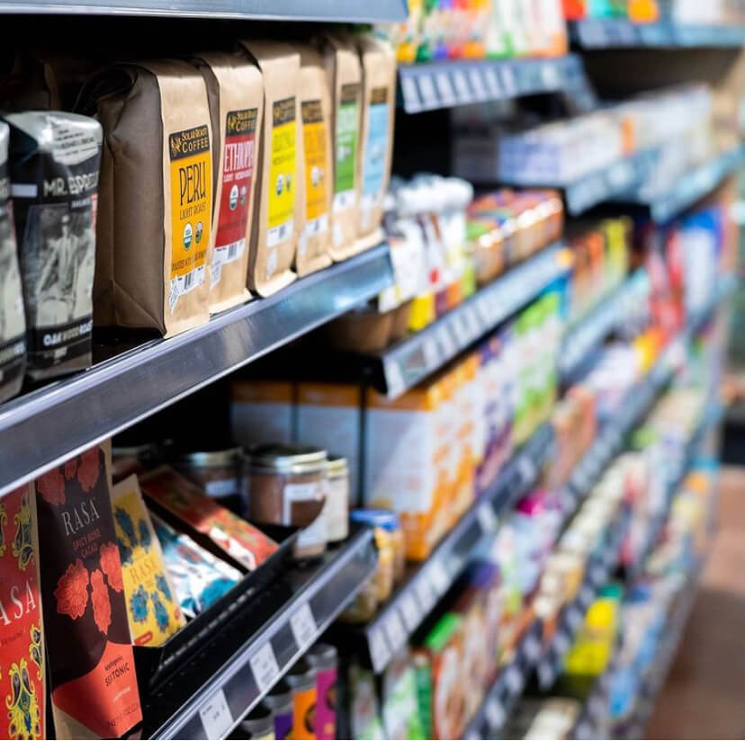 Coffee and tea on store shelves